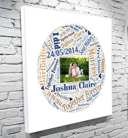 Circle photo and text art word art canvas gift