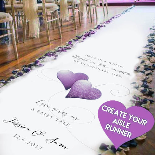 personalised wedding aisle runner with your own unique design