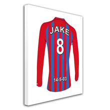 Crystal Palace red and blue  personalised football shirt canvas