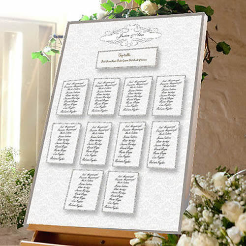 Damask Wedding Table Plan - Canvas Seating Meal Plan