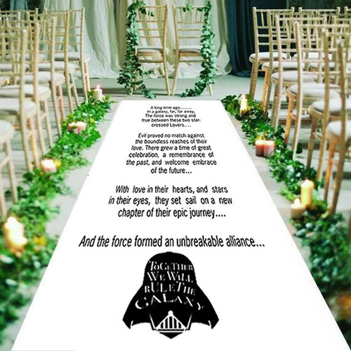 personalised wedding aisle runner, sci-fi, may the force be with you
