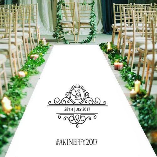 Personalised wedding aisle runner, formal, initials and wedding date
