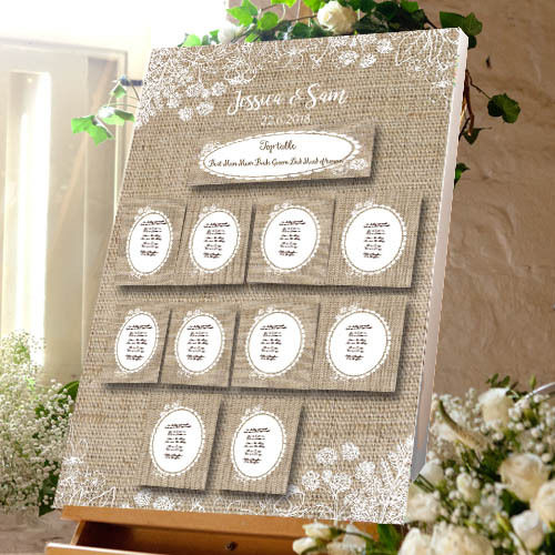 Hessian & Lace Themed Wedding Table Plan - Canvas Seating Meal Plan