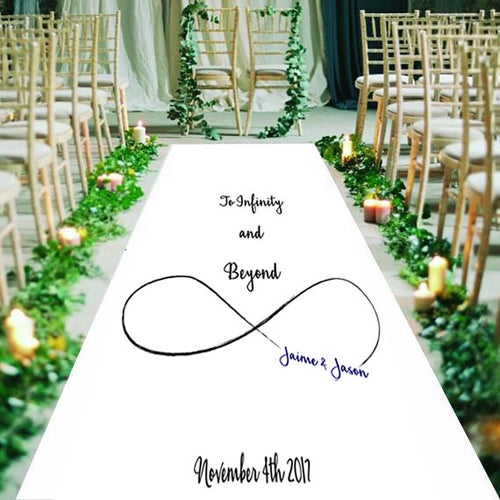 to infinity and beyond, personalised wedding aisle runner