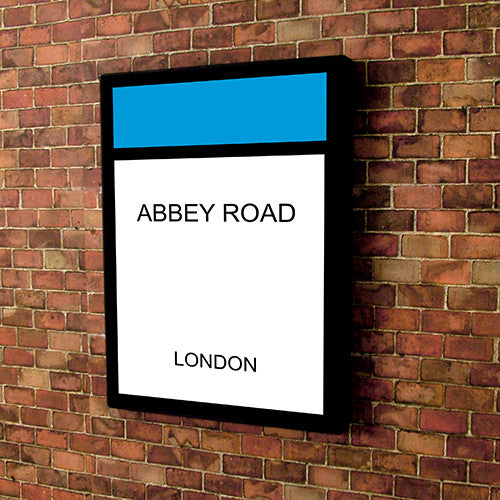 Monopoly style printed and framed personalised canvas - light blue