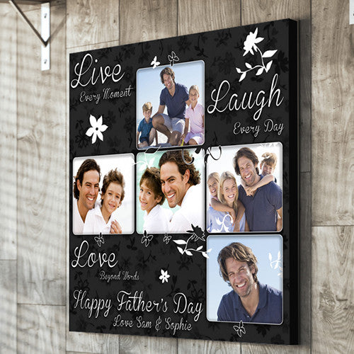 Father's Day live love laugh personalised  canvas gift dad grandad father