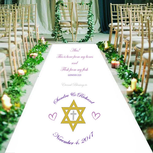 mixed faith personalised wedding aisle runner