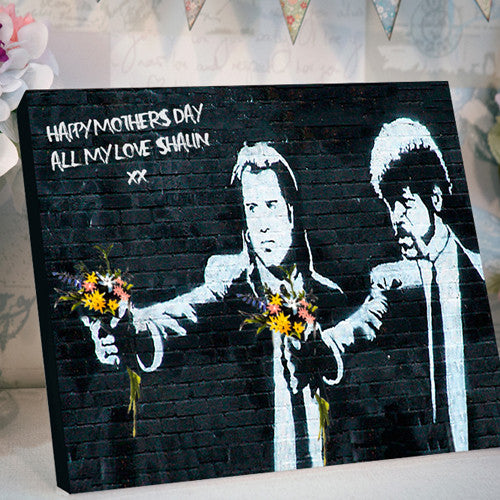 Banksy pulp fiction mother's day canvas personalised gift
