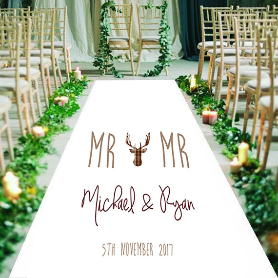 LGBT personalised wedding aisle runner bride and bride/groom and groom name date of wedding stag