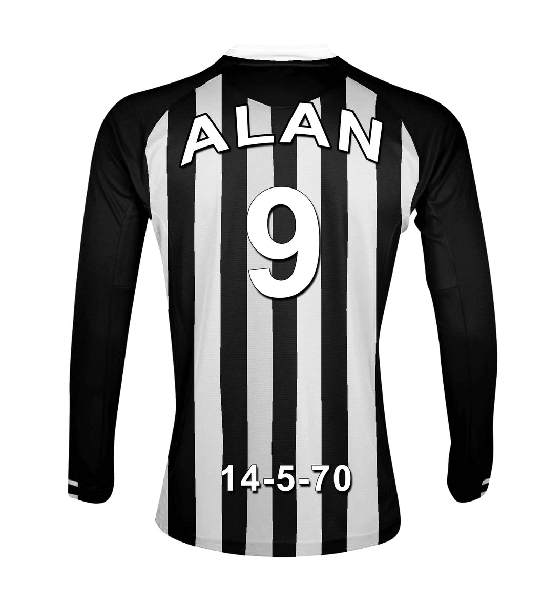 Newcastle Football Club black and white personalised football shirt canvas