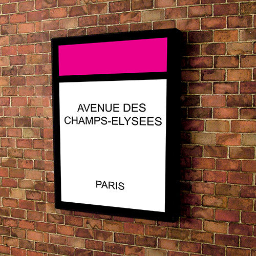 Monopoly style printed and framed personalised canvas - pink