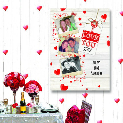 I LOVE YOU Polaroid photo montage canvas personalised for valentines day