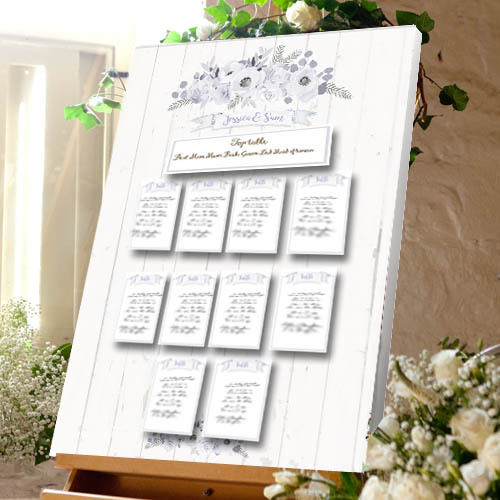 Vintage Rose Wood Wedding Table Plan - Canvas Seating Meal Plan