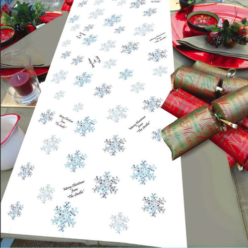 Christmas Table runner personalised snowflake Blue