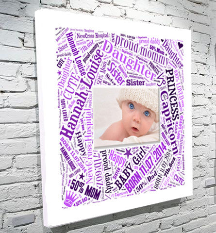 Bold square photo and words montage birth gift