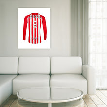 Stoke Football Club red and white personalised football shirt canvas