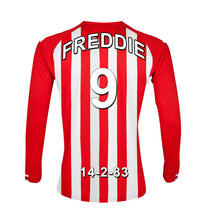 Load image into Gallery viewer, Stoke Football Club red and white personalised football shirt canvas