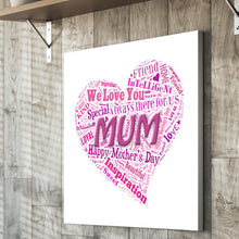 Load image into Gallery viewer, Mum mother's day canvas unique own words special gift mum