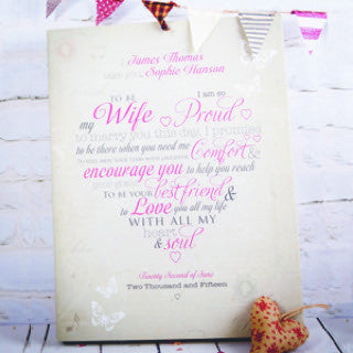 wedding vows canvas bride groom gift