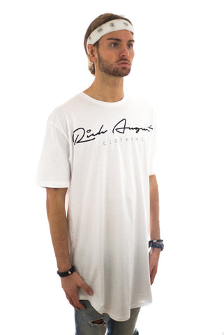 Rich Signature Extended Tee - RICH WHITE - RICH AUGUST CLOTHING