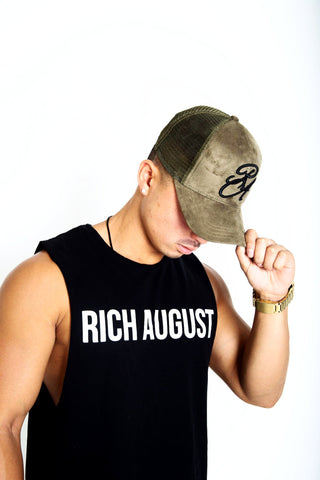 Rich August Clothing Royal Trucker Snapback - Khaki Green Suede