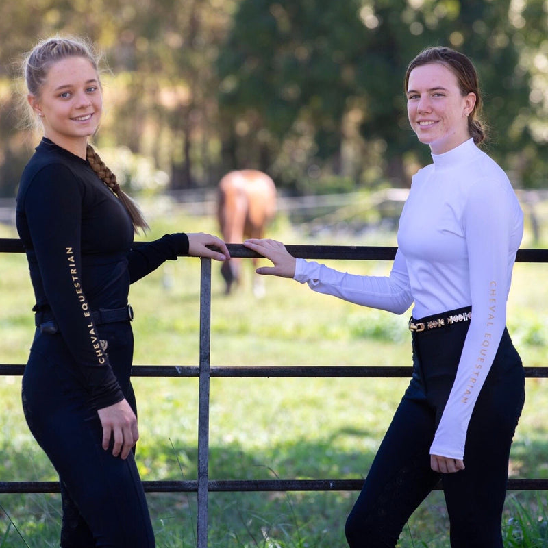 'KNOCKOUT' Stretch Compression Mock Neck Baselayer - Cheval Equestrian