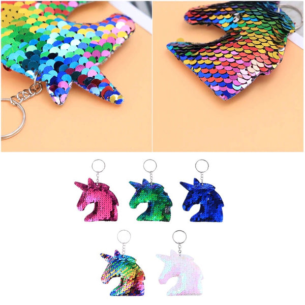 Sequins Unicorn Head Keyring - Cheval Equestrian