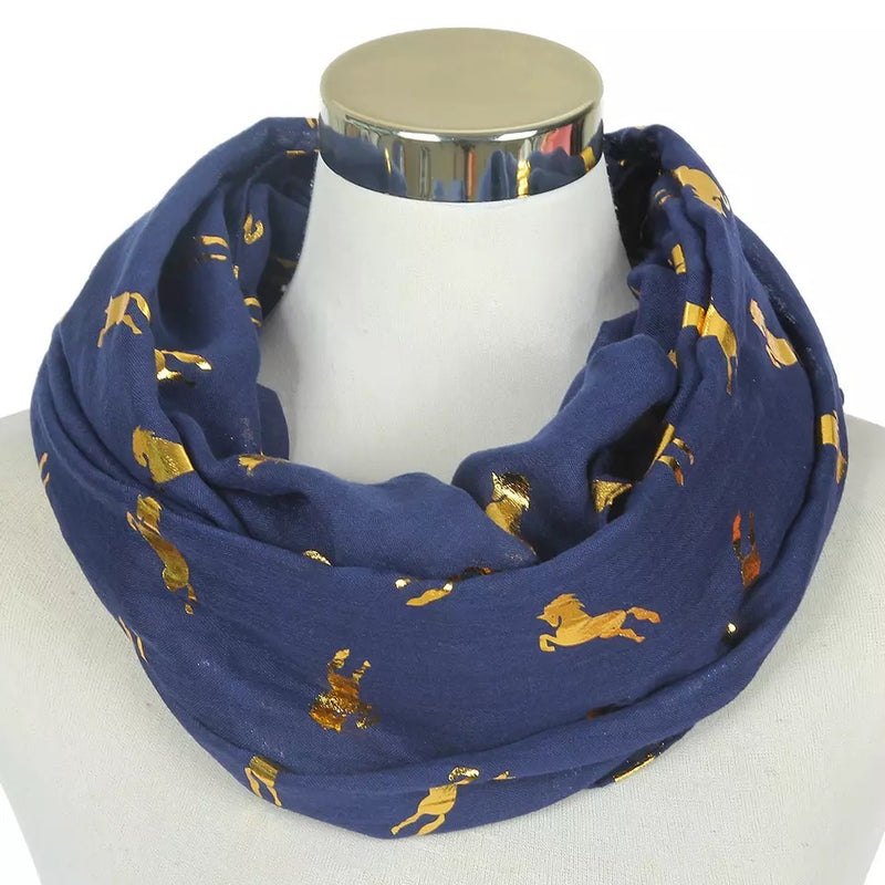Gold Horse Scarf - Cheval Equestrian