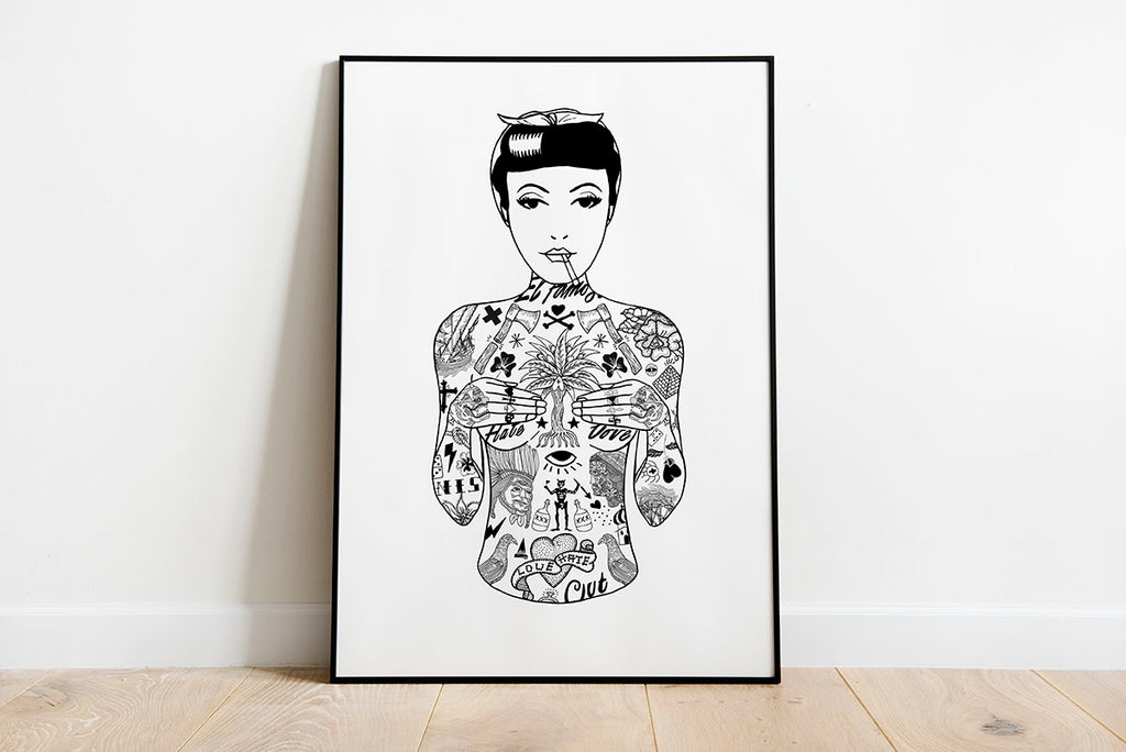 Tat Girl A2 Art Print