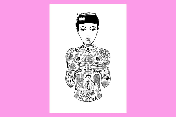 A3 Tat Girl Art Print