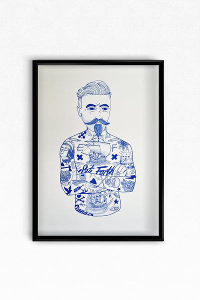 A3 Blue The Tat Man Digital Print