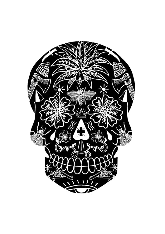 A3 Black Tattoo Skull Digital Print