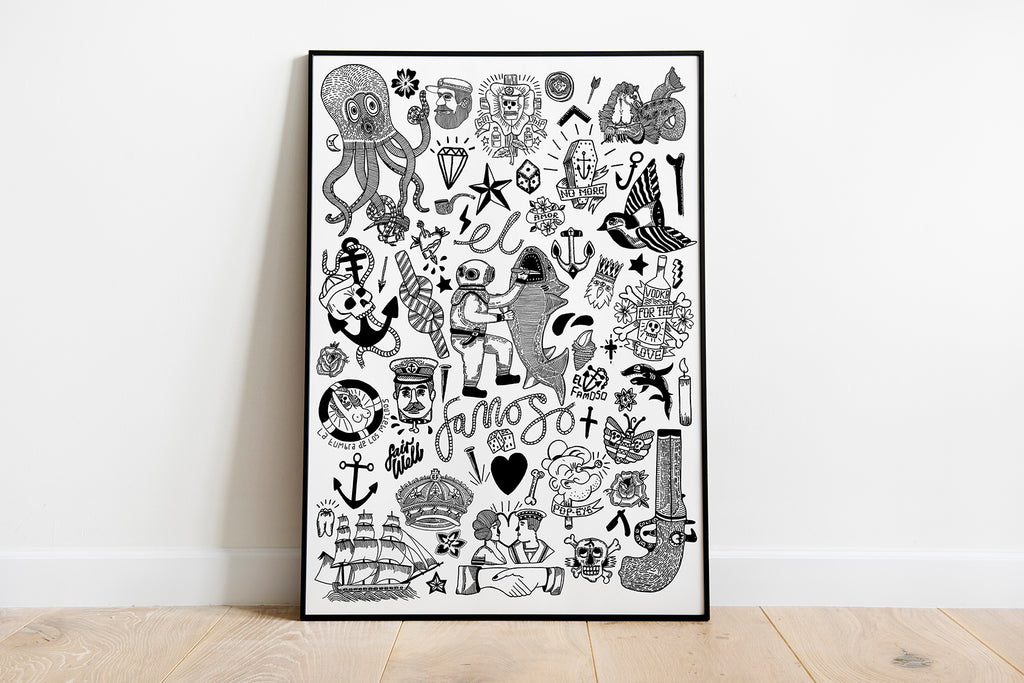 Tattoo Flash Page Art Print