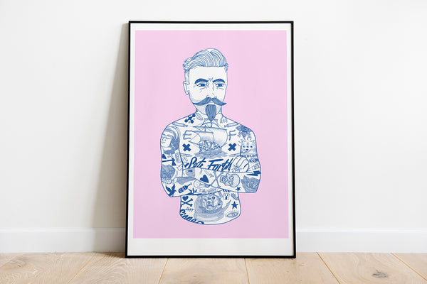 A3 Tat Man pink and blue Risograph