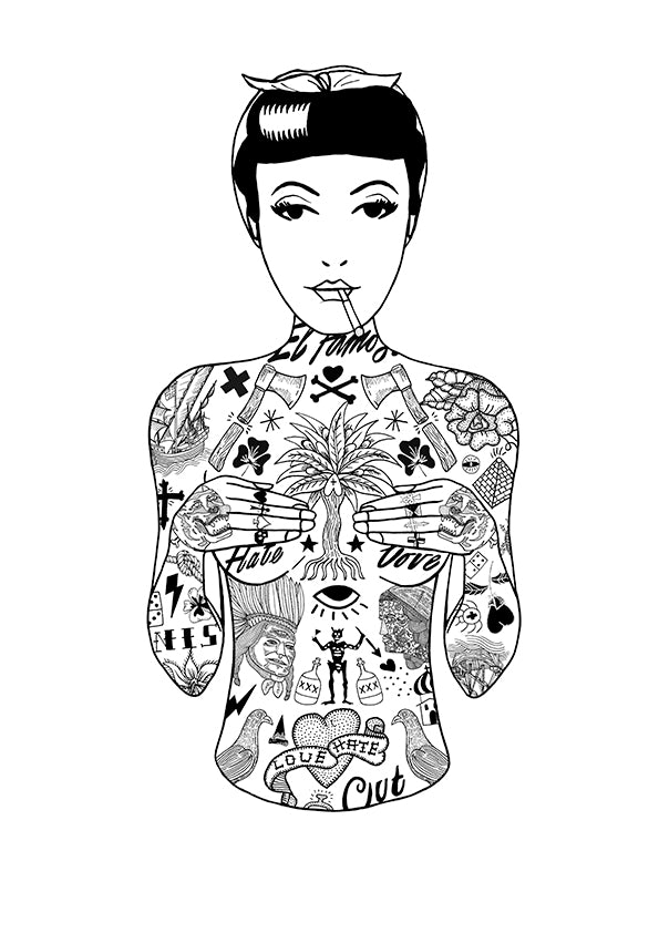 A2 Tattoo Girl Print