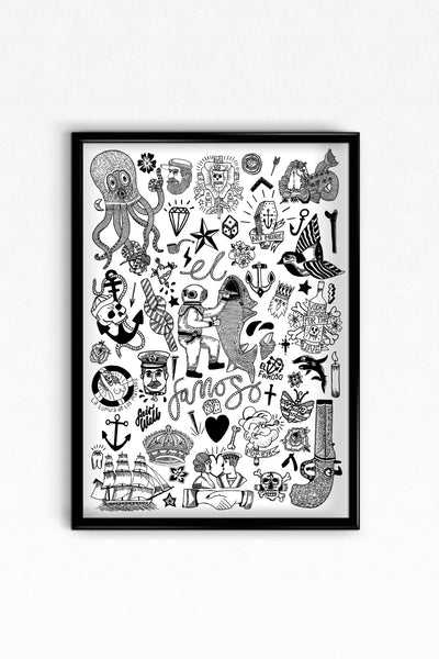 Tattoo Flash Page Digital Print