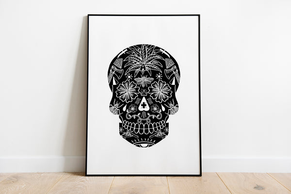 Black Tattoo Skull Art Print