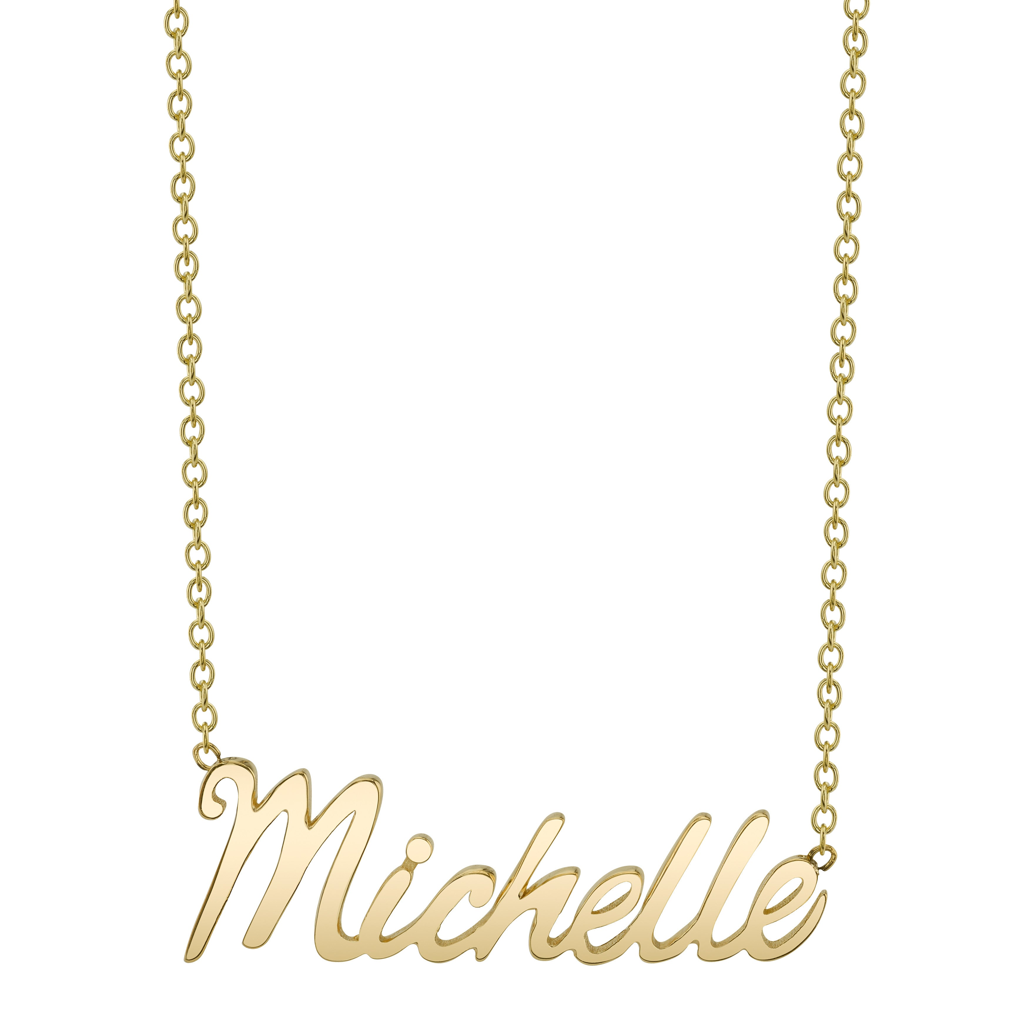 gold yg script product necklace jewellery two name tyche nyc