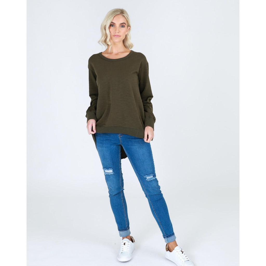 Newhaven Sweater Sage is a relaxed fit with longer back.