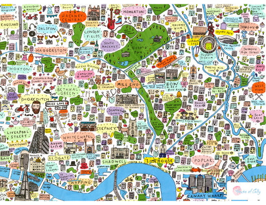 Illustrated Map of East London - House of Cally