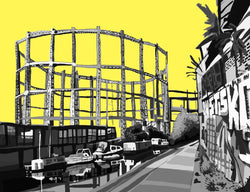 Bethnal Green Gas Holders (Yellow) - tomARTacus