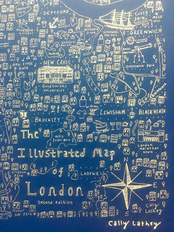 Illustrated Map of London – Black/ Blue Screen Print