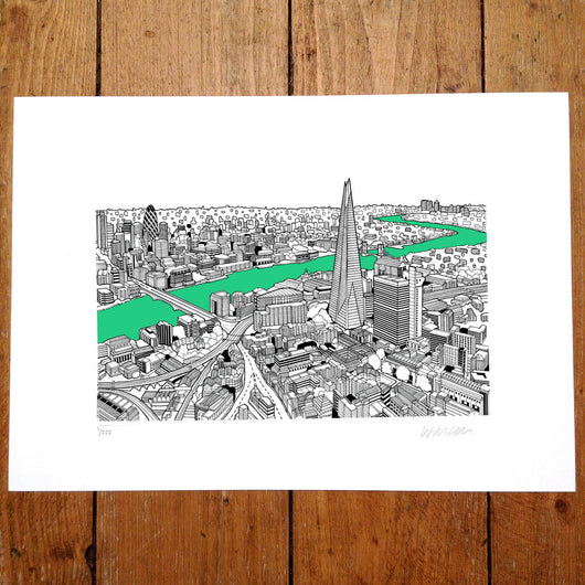 The Shard, London Light Blue/Green - Will Clarke (signed by the artist)