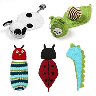 5 style in 1 set Infant Photo Props Funny Crochet Knit Newborn Baby Costume Snail Sheep Dinosaur Hat - ISaleuk