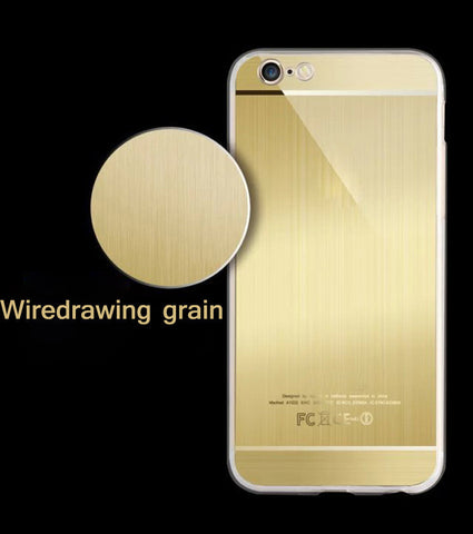 Luxury Ultra thin Acrylic Brush Design Gold Silver Black cases for iphone 6 6s - ISaleuk