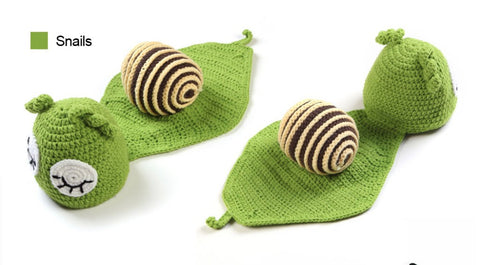 ad893773e 5 style in 1 set Infant Photo Props Funny Crochet Knit Newborn Baby Costume  Snail Sheep Dinosaur Hat