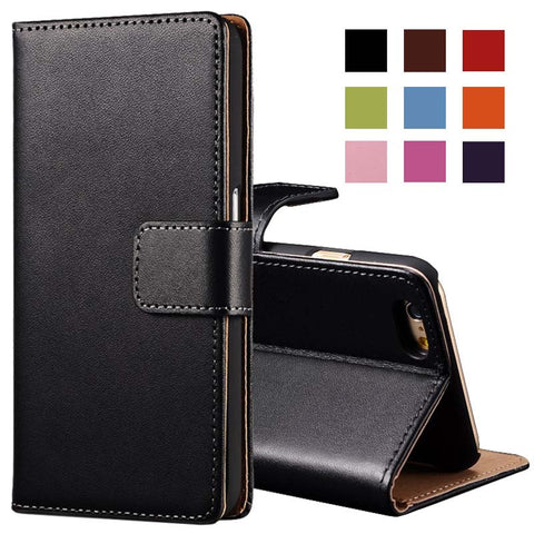 GENUINE PU LEATHER FLIP WALLET SLIM CASE COVER  IPHONE  6 7 8 5 SE PLUS AND 10 - ISaleuk