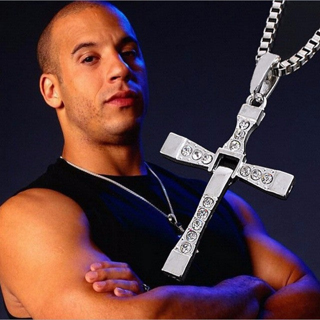 The Fast and Furious Crystal Cross Men Necklaces & Pendants Silver Vintage Statement Necklace - ISaleuk