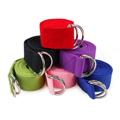 Yoga Stretch Strap Multi-Colors D-Ring Belt Fitness Exercise Gym Rope Yoga Belt - ISaleuk