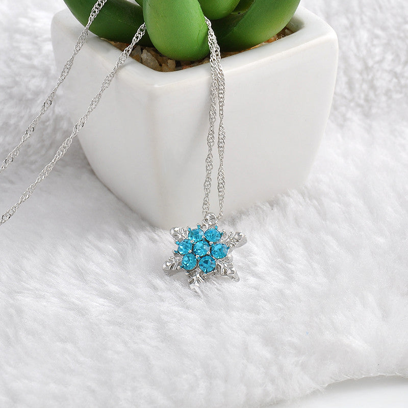 Charm Vintage lady Blue Crystal Snowflake Zircon Flower Silver Necklaces & Pendants Jewelry for Women - ISaleuk